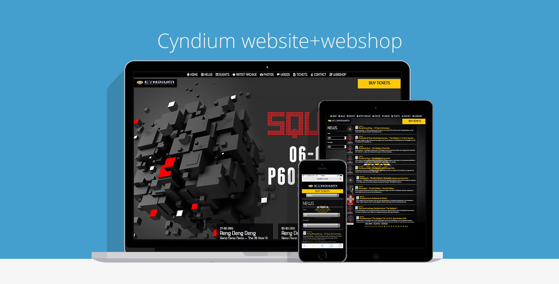 Cyndium events website webshop