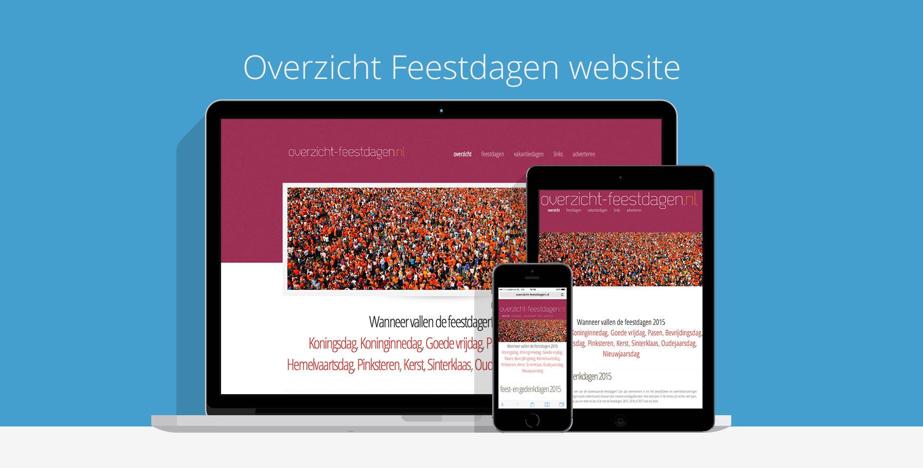 Overzicht van feestdagen website